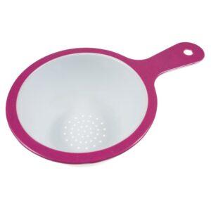 Strecuratoare fina cu maner, melamina, 15 cm, alb-roz, Maxx-0