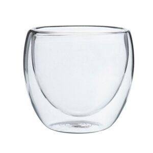 Pahar din sticla cu pereti dubli, 250 ml, pahar termic, design modern, pahar termorezistent, h 9 cm, d 8 cm, Klasique-40056