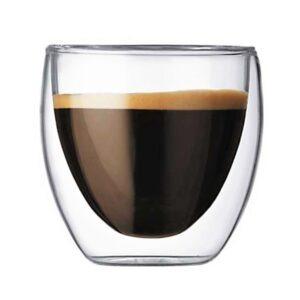 Pahar din sticla cu pereti dubli, 250 ml, pahar termic, design modern, pahar termorezistent, h 9 cm, d 8 cm, Klasique-0