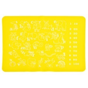 Suport farfurie educativ de invatare litere, cifre, animale, suport farfurie pentru copii din silicon, joc de invatare, atentie, napron cu litere diversificare bebe, cifre si animale pentru copii, napron copii, galben 40 x 30 cm-0