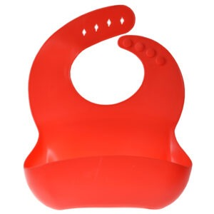Bavetica flexibila din silicon pentru bebelusi, baveta bebe din cauciuc moale, usor de curatat, antimurdarire, cu buzunar colector larg, inchidere ajustabila, Maxx, rosu-41107