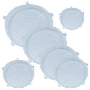 Capace flexibile silicon, set de 6, extensibile, inlocuitor folie strech alimentara, 6 x capac silicon flexibil pentru vase/recipiente, capace silicon elastic pentru mentinerea prospetimii, capace elastice castron/bol, capace flexibile, Quasar-41013