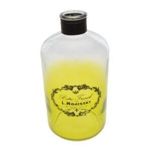 Borcan decorativ sticla, vintage, Bistro French, verde degrade, aplicatii sfoara, 1.2 L-0