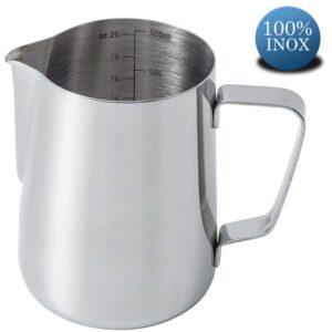 Cana din inox, latiera pentru spumare cu maner, cana de lapte sau cappucino, cu cioc, cana pentru bar, cana barista, 600 ml, h 11 cm, Maxx-0
