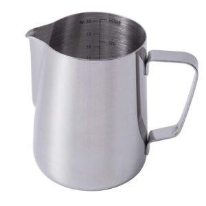 Cana din inox, latiera pentru spumare cu maner, cana de lapte sau cappucino, cu cioc, cana pentru bar, cana barista, 600 ml, h 11 cm, Maxx-55693