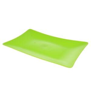 Platou plastic, rezistent si reutilizabil, 3 mm grosime, platou servire aperitive/desert, 19 x 31 cm, dreptunghiular, verde, Quasar-0