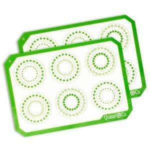 Foaie antiaderenta, folie copt silicon, set 2 foi pentru cuptor, inlocuieste hartia de copt, reutilizabil, 29.5 x 21 cm, Quasar&Co, alb / verde-0