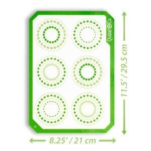 Foaie antiaderenta, folie copt silicon, set 2 foi pentru cuptor, inlocuieste hartia de copt, reutilizabil, 29.5 x 21 cm, Quasar&Co, alb / verde-48329