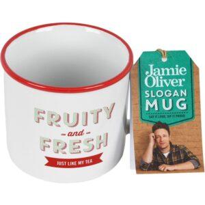 """Cana din ceramica, JAMIE OLIVER, 400 ml, mesaj """"Fruity and Fresh"""", cana cafea / ceai, d 9 cm, h 8 cm-0"""