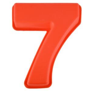 Forma de copt din silicon cifra 7, termorezistenta de la -40 la +230 grade C, h 23.5, mare, forma de tort/prajitura in forma cifrei 7, tava cifra 7, tava copt, tava silicon, rosu, Maxx-0