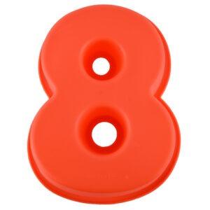Forma de copt din silicon cifra 8, termorezistenta de la -40 la +230 grade C, h 23.5, mare, forma de tort / prajitura in forma cifrei 8, tava cifra 8, tava copt, tava silicon, rosu, Maxx-0