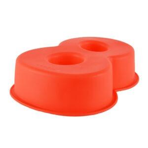 Forma de copt din silicon cifra 8, termorezistenta de la -40 la +230 grade C, h 23.5, mare, forma de tort / prajitura in forma cifrei 8, tava cifra 8, tava copt, tava silicon, rosu, Maxx-48615