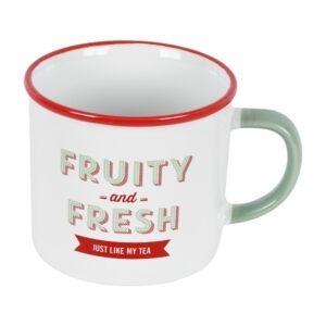 """Cana din ceramica, JAMIE OLIVER, 400 ml, mesaj """"Fruity and Fresh"""", cana cafea / ceai, d 9 cm, h 8 cm-48934"""