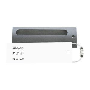 Tag troler, eticheta cu nume pentru identificare, name tag, accesoriu valiza de identificare, cu inel metalic de prindere, luggage tag, 8.5 x 2.8 cm, metalic, gri, Quasar-49352