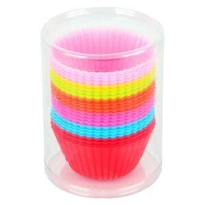 Forme briose Quasar&Co., set de 24 bucati, silicon, forme de copt, madeline, mini tarte, 7 cm, multicolor-51010