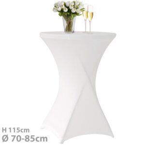 Husa masa evenimente, husa elastica, fata de masa elastica pentru masa cocktail, d 70-85 cm, h 115 cm, alb-0