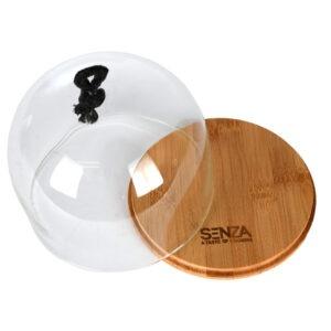 Clopot din sticla pentru aperitive/branzeturi/unt, baza bambus, d 13 cm, h 12 cm, Senza-52018