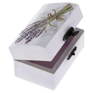 Cutie marturii, pictata manual, caseta bijuterii, 9 x 5.5 x 5 cm, model lavanda, Cutia cu bucurii-52441