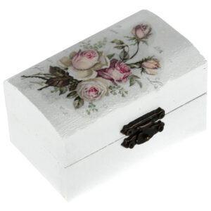 Cutie marturii, pictata manual, caseta bijuterii, 9 x 5.5 x 5 cm, model trandafir alb, Cutia cu bucurii-0