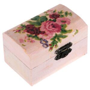 Cutie marturii, pictata manual, caseta bijuterii, 9 x 5.5 x 5 cm, model trandafir roz, Cutia cu bucurii-0