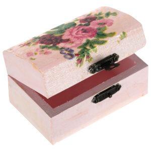 Cutie marturii, pictata manual, caseta bijuterii, 9 x 5.5 x 5 cm, model trandafir roz, Cutia cu bucurii-52446