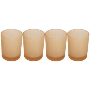 Set 4 suporturi de lumanari tip pastila, Rasteli, sticla, Ø 5 cm, h 6.5 cm, crem mat, art. 7106-0