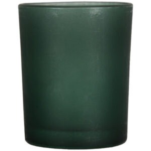 Set 4 suporturi de lumanari tip pastila, Rasteli, sticla, Ø 5 cm, h 6.5 cm, verde mat, art. 7105-52574