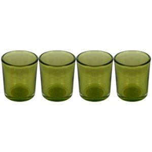 Set 4 suporturi de lumanare tip pastila, Rasteli, sticla, Ø 5.5 cm, h 6.5 cm, verde transparent, art. 5907-0