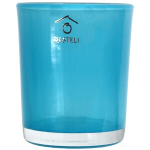 Set 4 suporturi de lumanari tip pastila, Rasteli, sticla, Ø 5.5 cm, h 6.5 cm, bleu transparent, art. 5903-52582