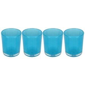 Set 4 suporturi de lumanari tip pastila, Rasteli, sticla, Ø 5.5 cm, h 6.5 cm, bleu transparent, art. 5903-0