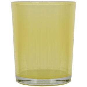 Set 4 suporturi de lumanari tip pastila, Rasteli, sticla, Ø 5.5 cm, h 6.5 cm, galben transparent, art. 5900-52588