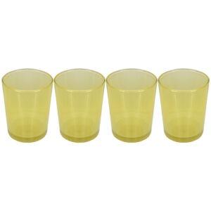 Set 4 suporturi de lumanari tip pastila, Rasteli, sticla, Ø 5.5 cm, h 6.5 cm, galben transparent, art. 5900-0