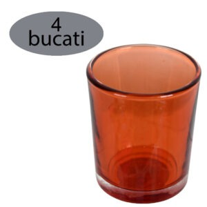 Set 4 suporturi de lumanari tip pastila, Rasteli, sticla, Ø 5.5 cm, h 6.5 cm, portocaliu transparent, art. 5906.1-52605