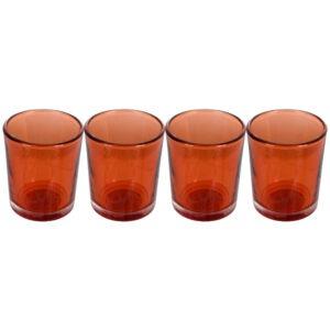 Set 4 suporturi de lumanari tip pastila, Rasteli, sticla, Ø 5.5 cm, h 6.5 cm, portocaliu transparent, art. 5906.1-0