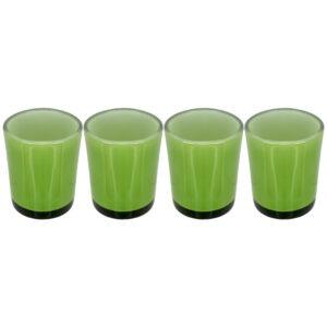 Set 4 suporturi de lumanari tip pastila, Rasteli, sticla, Ø 5.5 cm, h 6.5 cm, verde lime, art. 3272-0