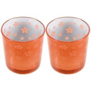 Set 2 suporturi de lumanari tip pastila, Rasteli, sticla, Ø 7 cm, h 7.5 cm, model flori, portocaliu metalizat, art. 7745-0