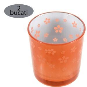 Set 2 suporturi de lumanari tip pastila, Rasteli, sticla, Ø 7 cm, h 7.5 cm, model flori, portocaliu metalizat, art. 7745-52822