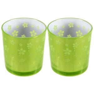 Set 2 suporturi de lumanari tip pastila, Rasteli, sticla, Ø 7 cm, h 7.5 cm, model flori, verde lime metalizat, art. 7746-0
