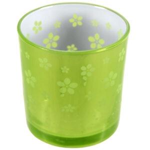 Set 2 suporturi de lumanari tip pastila, Rasteli, sticla, Ø 7 cm, h 7.5 cm, model flori, verde lime metalizat, art. 7746-52827
