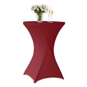 Husa masa evenimente + extra acoperire masa, husa elastica, fata de masa elastica pentru masa cocktail, d 70-85 cm, h 100 cm, visiniu, Perel-0