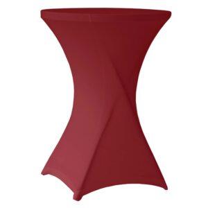 Husa masa evenimente + extra acoperire masa, husa elastica, fata de masa elastica pentru masa cocktail, d 70-85 cm, h 100 cm, visiniu, Perel-57554