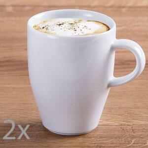 Set 2 cani ceai/cafea, portelan, 320 ml, alb -0