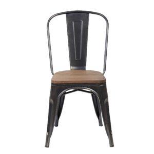 Scaun Atelier Cruz, metal si lemn, efect antichizat-55214