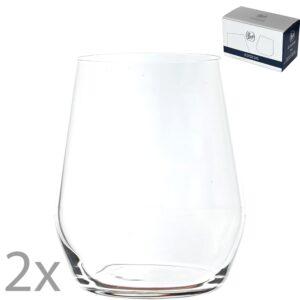 Set 2 pahare pentru apa/suc/racoritoare, cristal Bohemia, model Broggi, transparent, 380 ml-0