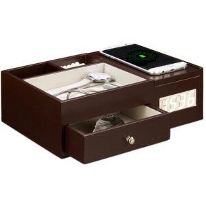 Cutie de bijuterii cu incarcator wireless si ceas, Relaxdays-0