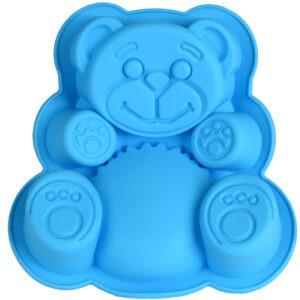 Forma de copt din silicon pentru tarte, blat de tort, tava copt termorezistenta ursulet, 17 x 15 x 3 cm, bleu, Quasar&Co.-0