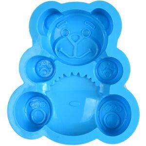Forma de copt din silicon pentru tarte, blat de tort, tava copt termorezistenta ursulet, 17 x 15 x 3 cm, bleu, Quasar&Co.-55787