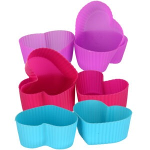 Forme de copt briose, madeline, mini tarte in forma de inima, set 8 forme de silicon, termorezistente, 7 x 5.7 x 3 cm, multicolor, Quasar&Co.-0