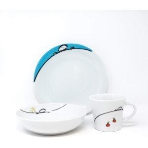 Set pentru servire masa, pentru copii, cana 220 ml, farfurie adanca d18 cm, farfurie intinsa, d21.5 cm, portelan, Kahla, alb-56439