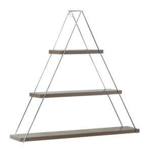 Raft triunghiular de perete cu 3 polite, 74 x 13 x 61 cm, culoare nuc, Quasar Deko, MT191001-56122